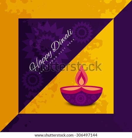 Diwali card festival celebration colorful background illustration - stock vector