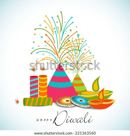 Diwali Celebration With Exploding Crackers And Stylish Text Of On Shiny Sky Blue White