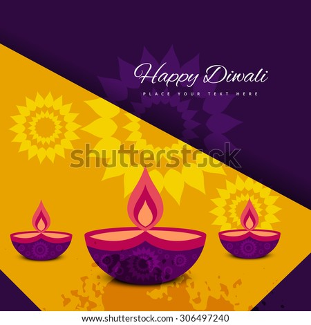 diwali colorfu card decorativel background Vector  - stock vector