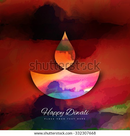Diwali colorful traditional Hindu festival  background vector - stock vector