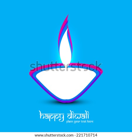 Diwali diya art blue colorful card creative vector design  - stock vector