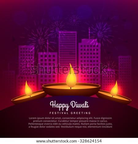 diwali diya place infront of building design - stock vector