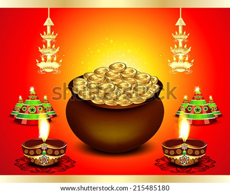 diwali Festival Background  with money vector illustration