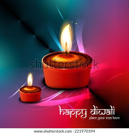 Diwali festival elegant card colorful design for Vector background  - stock vector