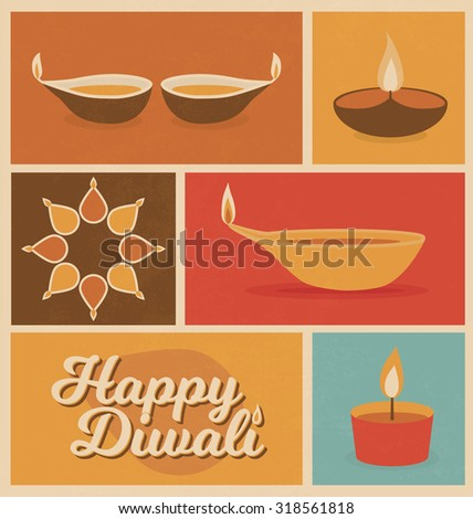 Diwali - Festival of Light - Minimal Retro Design - flat icons - vintage style - stock vector