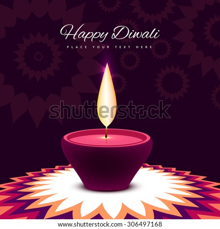 diwali festival with beautiful lamp colorful shiny background  illustration - stock vector