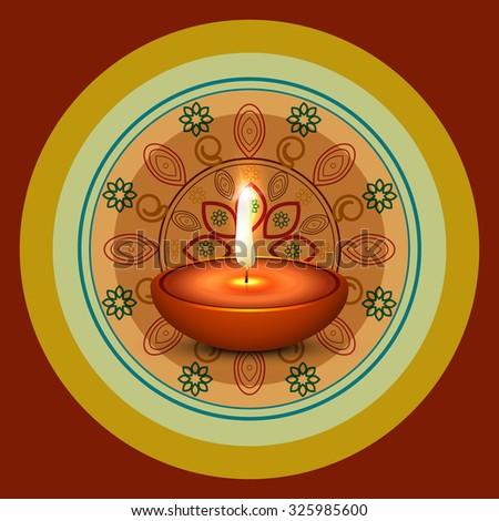 Diwali festival with colorful rangoli beautiful card design vector - stock vector
