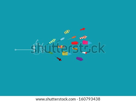 Diwali firecrackers isolated on colored background  - stock vector