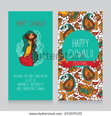 Diwali greeting cards template holiday design stock vector hd diwali greeting cards template for holiday design in indian style cute doodle indian woman m4hsunfo