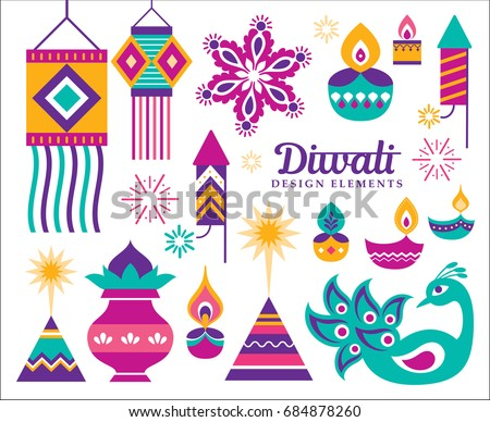 Diwali Hindu festival design elements