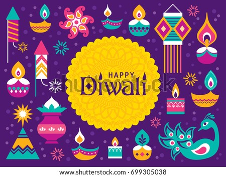 Diwali Hindu festival greeting card with modern elements