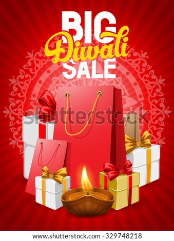 Diwali holiday big sale, bright red background for business promotion. Vector illustration. - stock vector