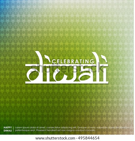 Diwali. Holiday Vector Illustration Of Religion Event Deepavali. Shiny Lettering Composition With Sparkles. Poster Template