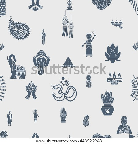 Diwali - Indian Festival Background. Seamless Pattern. Vector - stock vector