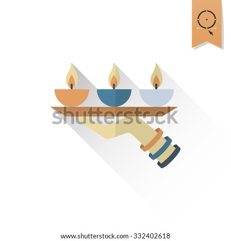 Diwali. Indian Festival Icon. Simple and Minimalistic Style. Vector - stock vector