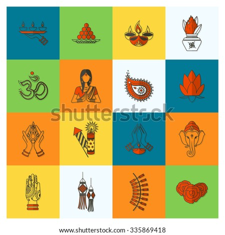 Diwali. Indian Festival Icons. Simple and Minimalistic Style. Vector - stock vector