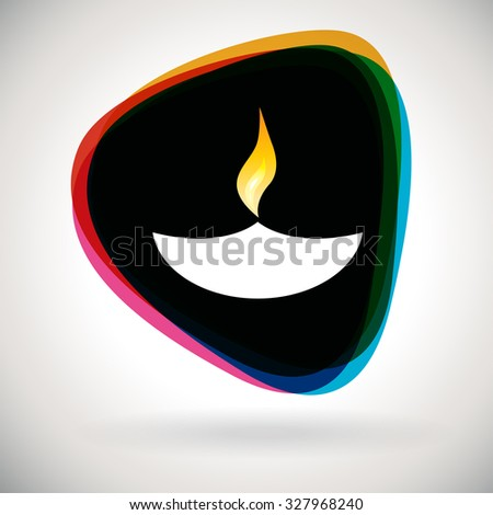Diwali Lamp - Colourful icon for poster and background   - stock vector