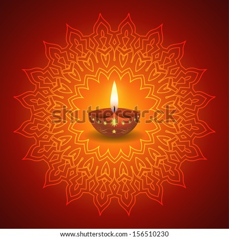 Diwali Lamp on Decorative Mandala Background - stock vector