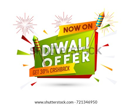 Diwali offer get 30% cashback sale poster, banner design decorated with fireworks and shiny firecrackers.