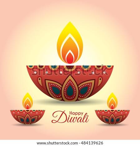 Diwali Or Deepavali Greeting With Beautiful Burning Diya India Oil Lamp Festival