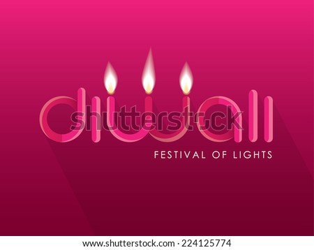 Diwali typography lettering with letter w shaped like lighted candles isolated on bright pink background - stock vector