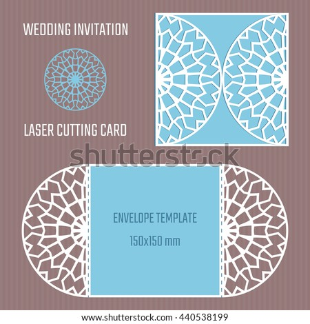 Diy Laser Cutting Vector Envelope Wedding Stock Vector
