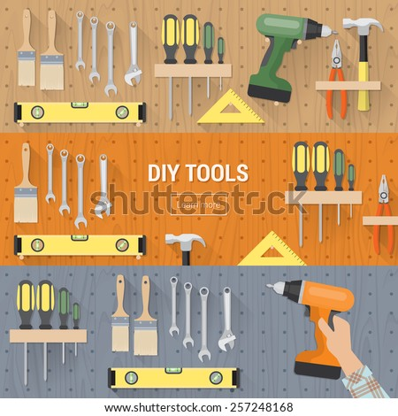 DIY tools for carpentry and home renovation hanging on a pegboard, banners set - stock vector