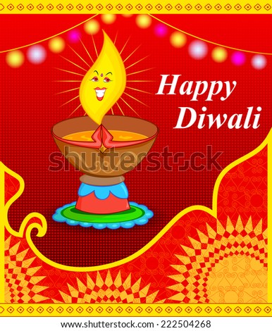 Diya for Diwali on abstract background in vector - stock vector