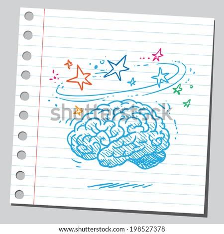 Dizzy brain - stock vector