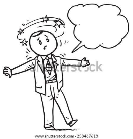 Dizzy businessman speaking something - stock vector