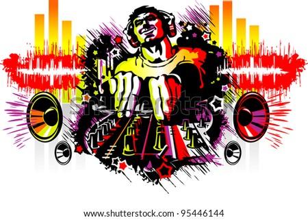 DJ and Acid Rainbow - stock vector