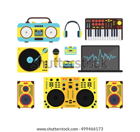 dj speaker art stock photos royalty images vectors dj audio music equipment icon set sound system for party night club flat