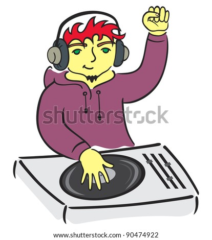 DJ behind console - stock vector