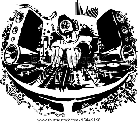 Dj Behind Decks Stock Vector 95446168 Shutterstock