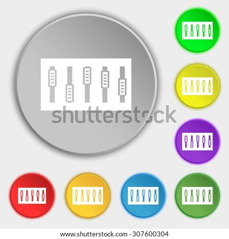 Dj console mix handles and buttons icon symbol. Symbols on eight flat buttons. Vector illustration - stock vector