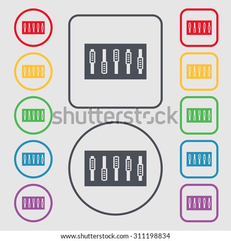 Dj console mix handles and buttons icon symbol. Symbols on the Round and square buttons with frame. Vector illustration - stock vector
