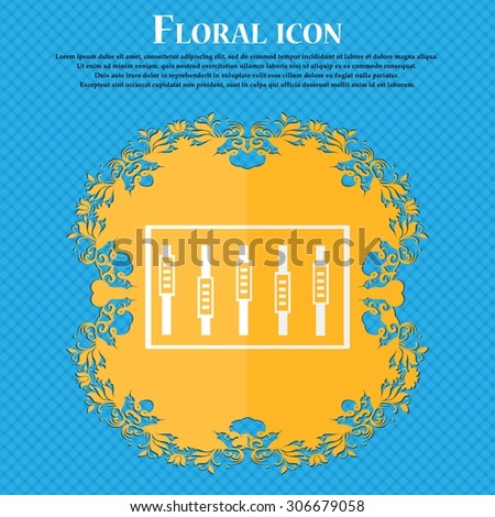Dj console mix handles and buttons, level icons. Floral flat design on a blue abstract background with place for your text. Vector illustration - stock vector