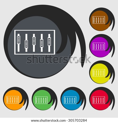 Dj console mix handles and buttons, level icons. Symbols on eight colored buttons. Vector illustration - stock vector