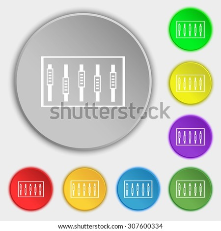 Dj console mix handles and buttons, level icons. Symbols on eight flat buttons. Vector illustration - stock vector