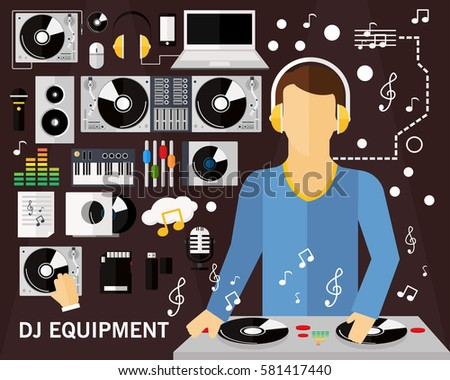 Dj Equipment Concept Background Flat Icons