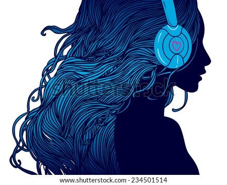 DJ girl: Profile of pretty girl with long hair in headphones  - stock vector