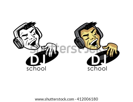 DJ in earphones plays on a vinyl record. Design element for different projects. - stock vector