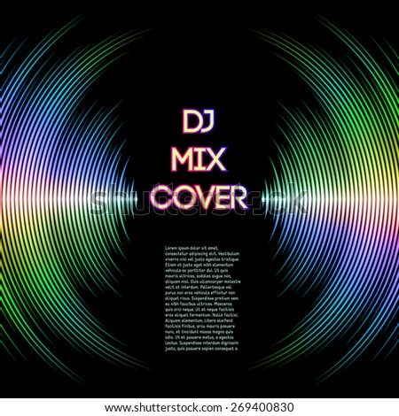 DJ mix cover with music waveform as a vinyl grooves. - stock vector