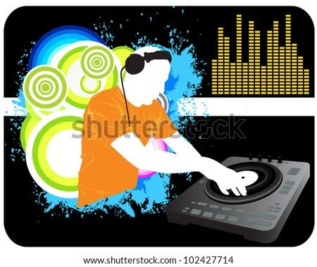 DJ Mixing background - stock vector