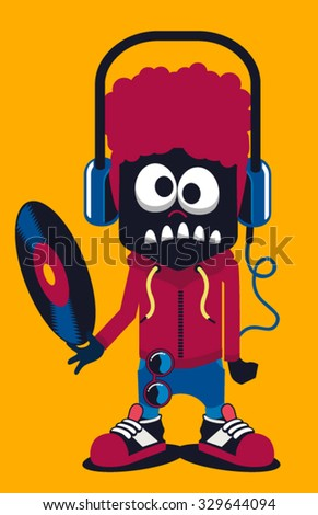 dj monster vector design  - stock vector