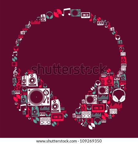 Dj music icon set in headphone shape. Vector file layered for easy manipulation and custom coloring. - stock vector