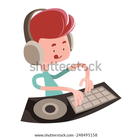 Dj playing music beats vector illustration cartoon character - stock vector