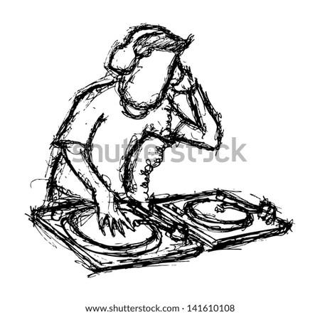 DJ playing turntable - stock vector