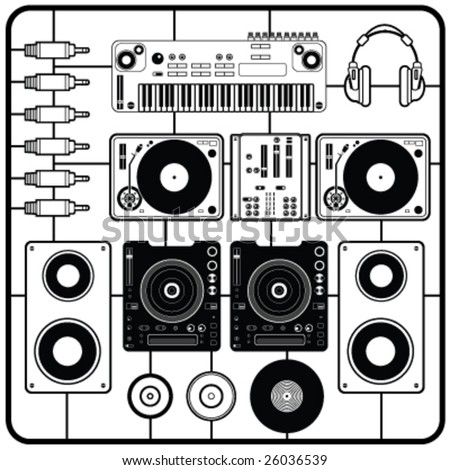 DJ's Music Elements Vector - stock vector
