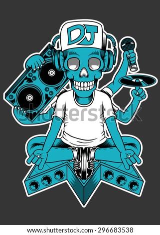 DJ Skull - stock vector